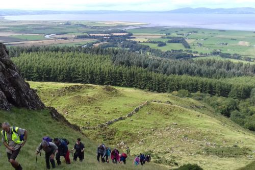 Steep climb through the Binevenagh Slips